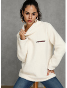 Solid Polyester Turtleneck Knit Tops Sweaters