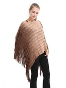 Tassel/Stitching Oversized Artificial Wool Poncho
