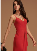 A-Line V-neck Asymmetrical Stretch Crepe Evening Dress