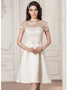 Knee-Length Satin Lace Wedding Dress
