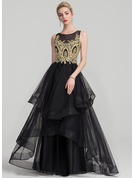 A-Line/Princess Scoop Neck Floor-Length Tulle Prom Dresses With Beading Cascading Ruffles