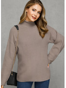 Waffle Knit Chunky knit Solid Polyester Turtleneck Pullovers Sweaters