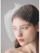 One-tier Blusher Veils With Rhinestones