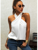 Regular Polyester Stand collar Solid Fitted Blouses