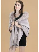 Solid Color Cold weather Wool/Fox Hair Poncho