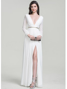 A-Line/Princess V-neck Floor-Length Chiffon Evening Dress With Beading Split Front