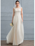 Scoop Neck Floor-Length Chiffon Wedding Dress With Beading Sequins