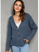 Pulls Tricot à Câble Gros tricot Couleur Unie Polyester Col V Cardigans Pulls