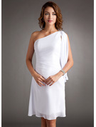 Sheath/Column One-Shoulder Knee-Length Chiffon Cocktail Dress With Ruffle Beading