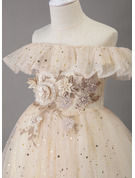 A-Line Floor-length Flower Girl Dress - Tulle/Sequined Sleeveless Off-the-Shoulder With Lace