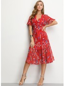 Chiffon With Print/Ruffles Midi Dress