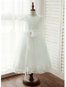 A-Line/Princess Tea-length Flower Girl Dress - Tulle/Lace Sleeveless Scoop Neck With Sash/Appliques
