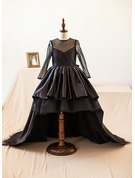 A-Line/Princess Knee-length Flower Girl Dress - Taffeta/Tulle Long Sleeves Scoop Neck With Bow(s)