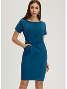 Polyester With Solid Knee Length Dress