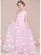 One-Shoulder Floor-Length Tulle Junior Bridesmaid Dress With Ruffle Flower(s)