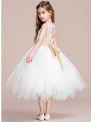 A-Line Tea-length Flower Girl Dress - Tulle/Lace Sleeveless Scoop Neck With Sash/Back Hole (Detachable sash)
