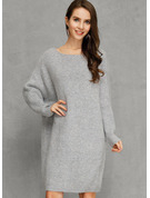 Solid Polyester Round Neck Knee Length Solid Knitting Sweaters
