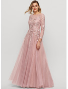 A-Line Scoop Neck Floor-Length Tulle Evening Dress