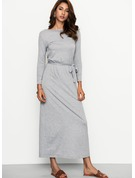 Polyester/Cotton With Stitching Maxi Dress