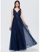 A-Line/Princess V-neck Floor-Length Tulle Prom Dresses With Lace