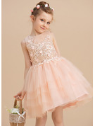 Ball-Gown/Princess Knee-length Flower Girl Dress - Tulle Lace Sleeveless Scoop Neck With Lace Beading