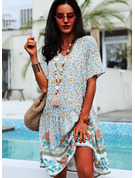 Floral Print Shift V-Neck Short Sleeves Midi Casual Vacation T-shirt Dresses