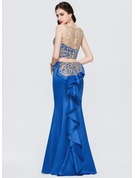 Trumpet/Mermaid Scoop Neck Floor-Length Satin Prom Dresses With Lace