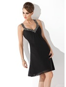 A-Line V-neck Knee-Length Chiffon Cocktail Dress With Ruffle Beading Sequins