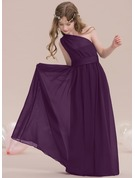 One-Shoulder Floor-Length Chiffon Junior Bridesmaid Dress With Ruffle