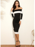 Polyester With Color-block/Slit Midi Dress
