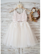A-Line/Princess Knee-length Flower Girl Dress - Tulle Lace Sleeveless Straps With Rhinestone