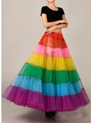 Women Tulle Netting/Satin Ankle-length 2 Tiers Bustle