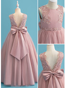 Floor-length Flower Girl Dress - Satin Tulle Lace Sleeveless Scoop Neck With Beading Sequins