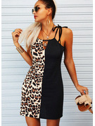 Leopard Color Block Sheath Spaghetti Straps Sleeveless Midi Casual Type Dresses