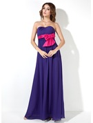 Empire Sweetheart Floor-Length Chiffon Maternity Bridesmaid Dress With Sash Bow(s)