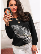 Regular Cotton Blends Round Neck Beaded Print Fitted Blouses