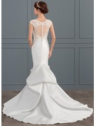 Trumpet/Mermaid Scoop Neck Chapel Train Satin Wedding Dress With Beading Sequins