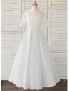 Floor-length Flower Girl Dress - Satin Lace 1/2 Sleeves Scoop Neck
