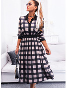 Plaid A-line Shirt collar Long Sleeves Midi Elegant Skater Dresses