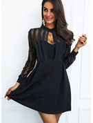 Solid A-line Round Neck Long Sleeves Midi Little Black Party Skater Dresses