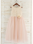 A-Line Tea-length Flower Girl Dress - Tulle/Lace Sleeveless Scoop Neck With Flower(s)