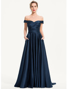 Off-the-Shoulder Sweep Train Satin Evening Dress With Pockets