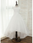 A-Line/Princess Asymmetrical Flower Girl Dress - Satin Tulle Sleeveless Scoop Neck With V Back