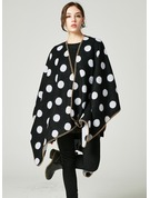 Polka Dots Oversized/Cold weather Artificial Wool Poncho