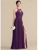 Halter Floor-Length Chiffon Lace Bridesmaid Dress With Bow(s) Split Front