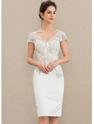 Sheath/Column V-neck Knee-Length Satin Lace Mother of the Bride Dress