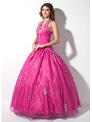 Ball-Gown Halter Floor-Length Organza Quinceanera Dress With Embroidered Ruffle Beading Sequins