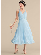 V-neck Tea-Length Chiffon Bridesmaid Dress With Pleated