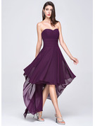 Sweetheart Asymmetrical Chiffon Evening Dress