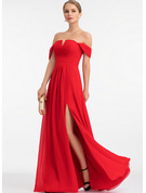 Off-the-Shoulder Floor-Length Chiffon Prom Dresses With Split Front